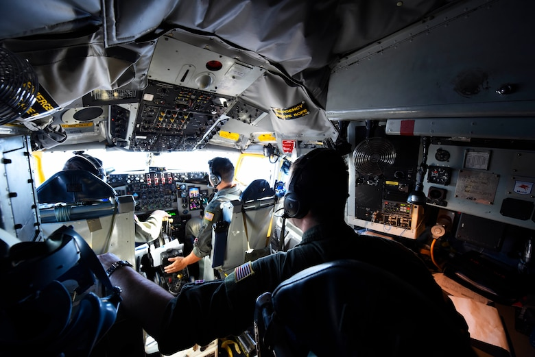 An aircrew from the 384th Air Refueling Squadron flies a KC-135 Stratotanker during Exercise Global Thunder 2019 over the U.S. Northwestern Region, Novermber 2018. Global Thunder is a U.S. Strategic Command exercise designed to ensure an efficient mission response by testing Airmen's ability to execute command, control and operational procedures during simulated combat scenarios. (U.S. Air Force photo/Airman 1st Class Lawrence Sena)