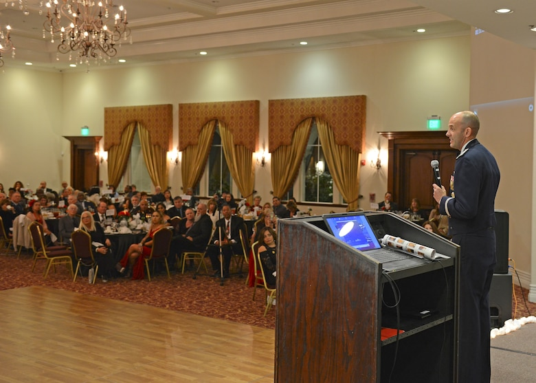 Brig. Gen. E. John Teichert, 412th Test Wing commander, gives the keynote address at the Coffee4Vets Veterans Military Ball at the John P. Eliopulos Hellenic Center in Lancaster, California, Nov. 3. (U.S. Air Force photo by Kenji Thuloweit)