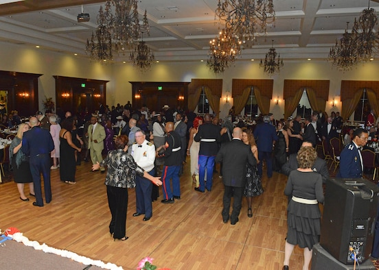 Veterans and guests of all ages danced at the end of the Coffee4Vets Veterans Military Ball at the John P. Eliopulos Hellenic Center in Lancaster, California, Nov. 3. (U.S. Air Force photo by Kenji Thuloweit)