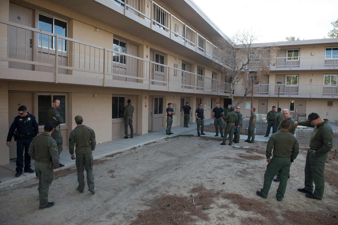 The North Las Vegas Swat team visits vacant dorms on Nellis Air Force Base, Nevada, Nov. 2, 2018. NLVS is looking to use the dorms as a place to train due to the lack of available buildings in Las Vegas. (U.S. Air Force photo by Airman 1st Class Bryan T. Guthrie)