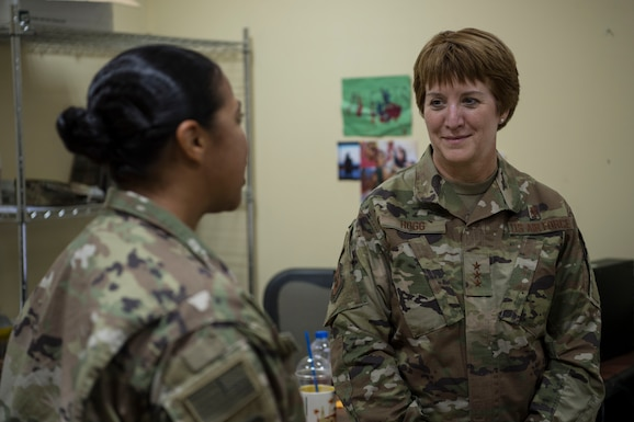 U.S. Air Force Lt. Gen. Dorothy Hogg, Air Force Surgeon General, at an undisclosed location in Southwest Asia, visiting and speaking with Airmen of the 386th Expeditionary Medical Group. As surgeon general, Hogg is responsible for recruiting, organizing, training, and equipping military personnel to support worldwide medical service missions.