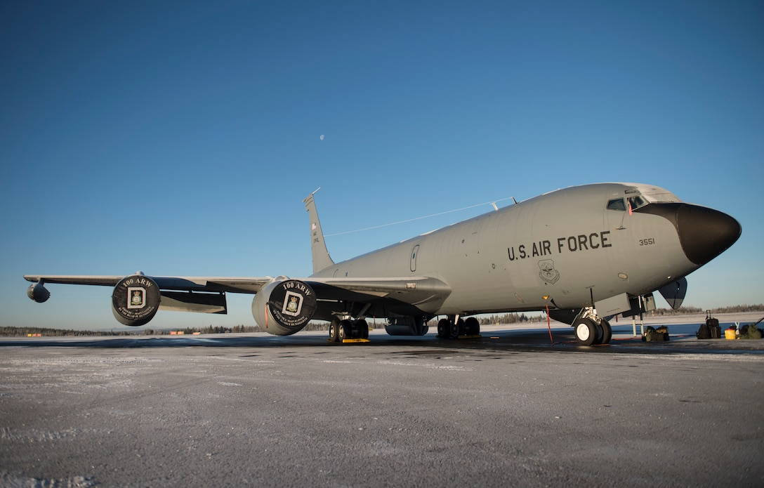 A U.S. Air Force KC-135 Stratotanker parked on the flightline during Exercise Trident Juncture 18, at Rovaniemi, Finland, Oct. 29, 2018. The exercise takes place in Norway and the surrounding areas of the North Atlantic and the Baltic Sea, including Iceland and the airspace of Finland and Sweden. With more than 50,000 participants, this is the largest NATO exercise since 2002. (U.S. Air Force photo by Senior Airman Luke Milano)