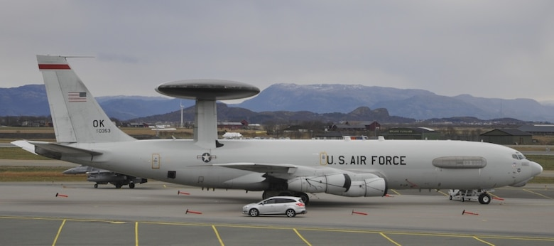 A U.S. Air Force E-3 Sentry Airborne Warning and Control System aircraft assigned to 552nd Air Control Wing, from Tinker Air Force Base, Oklahoma parked at Orland Air Station, Norway, Oct. 31, 2018. The 552nd ACW is participating in Exercise Trident Juncture 2018, a NATO exercise, which aims to demonstrate and develop the extensive military capabilities that keep allied nations safe in a changing security environment. The E-3 Sentry can transmit situational intelligence quickly and in a universal format to local commanders, whether they're troops on the ground, pilots in the sky or ships at sea.