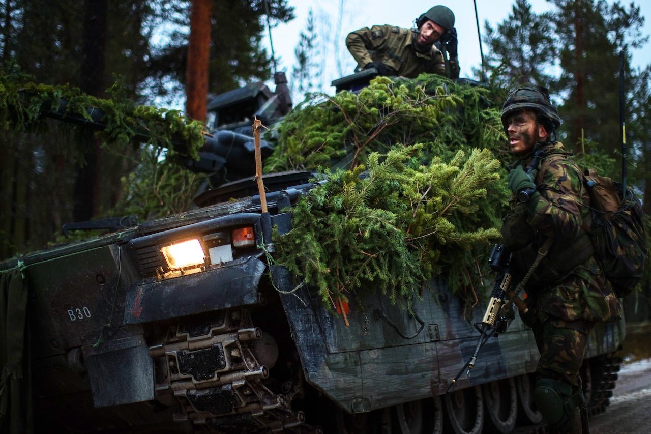 Soldiers participate in a NATO exercise.