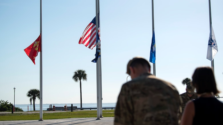 U.S. Army General Joseph Votel, U.S. Central Command commander, bows his head in remembrance during a joint-service Veterans Day ceremony held at MacDill Air Force Base, Fla., Nov. 8, 2018. Veterans Day honors the men and women of the armed forces who have served, past and present.