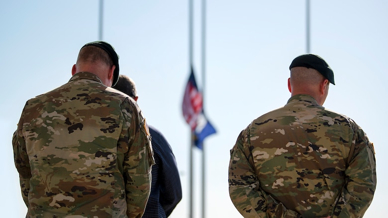 MacDill service members bow their head in remembrance during a Veterans Day event held at MacDill Air Force Base, Fla., Nov. 8, 2018. Veterans Day honors the men and women of the armed forces who have served, past and present.