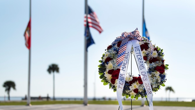 A ceremonial wreath is displayed during a joint-service Veterans Day ceremony held at MacDill Air Force Base, Fla., Nov. 8, 2018. Veterans Day is commemorated with ceremonial events such as parades, and wreath laying ceremonies to honor those who have served and continue to serve.