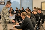 Tech Sgt. Nicholas M. Alexander, recruiter at the 179th Airlift Wing, talks to students from the Ashland West Holmes Career Center Nov. 1, 2018 at the 179th Airlift Wing, Mansfield, Ohio. Alexander has been a recruiter with the 179th AW for two years and is using innovation to bring awareness of the Guard to the local area.