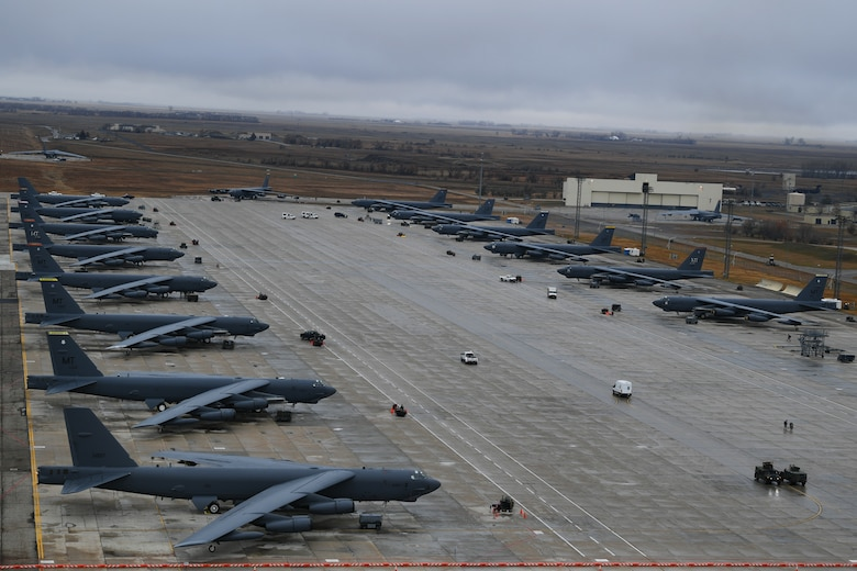 Rows of B-52H Stratofortresses sit ready on the flightline during Global Thunder 19 at Minot Air Force Base, N.D., Nov. 2, 2018. Global Thunder is a U.S. Strategic Command (USSTRATCOM) exercise designed to provide training opportunities to test and validate command, control and operational procedures. The training is based on a notional scenario developed to drive execution of USSTRATCOM and component forces'; ability to support the geographic combatant commands, deter adversaries and, if necessary, employ forces as directed by the President of the United States. (U.S. Air Force photo by Tech. Sgt. Jarad A. Denton)