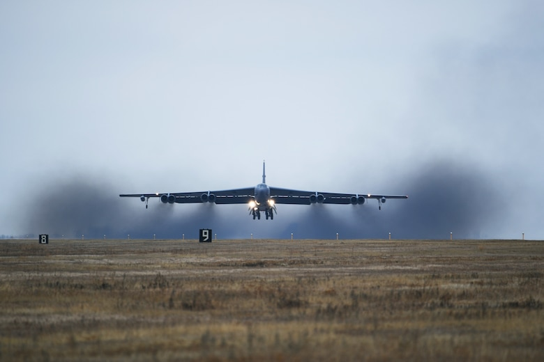 A B-52H Stratofortress takes off during Global Thunder 19 at Minot Air Force Base, N.D., Nov. 4, 2018. Global Thunder is a U.S. Strategic Command (USSTRATCOM) exercise designed to provide training opportunities to test and validate command, control and operational procedures. The training is based on a notional scenario developed to drive execution of USSTRATCOM and component forces'; ability to support the geographic combatant commands, deter adversaries and, if necessary, employ forces as directed by the President of the United States. (U.S. Air Force photo by Tech. Sgt. Jarad A. Denton)