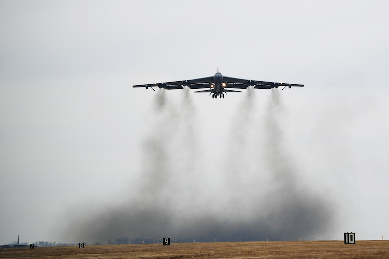 A B-52H Stratofortress takes off during Global Thunder 19 at Minot Air Force Base, N.D., Nov. 4, 2018. Global Thunder provides training opportunities that assess all U.S. Strategic Command (USSTRATCOM) mission areas and joint and field training operational readiness, with a specific focus on nuclear readiness. The training is based on a notional scenario developed to drive execution of USSTRATCOM and component forces'; ability to support the geographic combatant commands, deter adversaries and, if necessary, employ forces as directed by the President of the United States. (U.S. Air Force photo by Tech. Sgt. Jarad A. Denton)