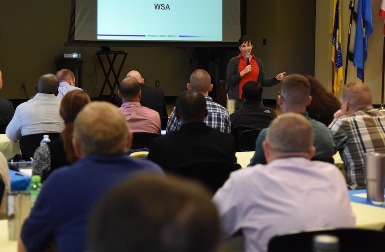 U.S. Air Force Col. Debra Lovette, 81st Training Wing commander, delivers remarks during the 81st TRW Fall 2018 Off-Site Commander's Conference at The Salvation Army Kroc Center in Biloxi, Mississippi, Nov. 6, 2018. Keesler leadership participated in the two-day event that allowed senior leaders to step away from their day-to-day activities and focus on improving themselves as leaders. (U.S. Air Force photo by Kemberly Groue)