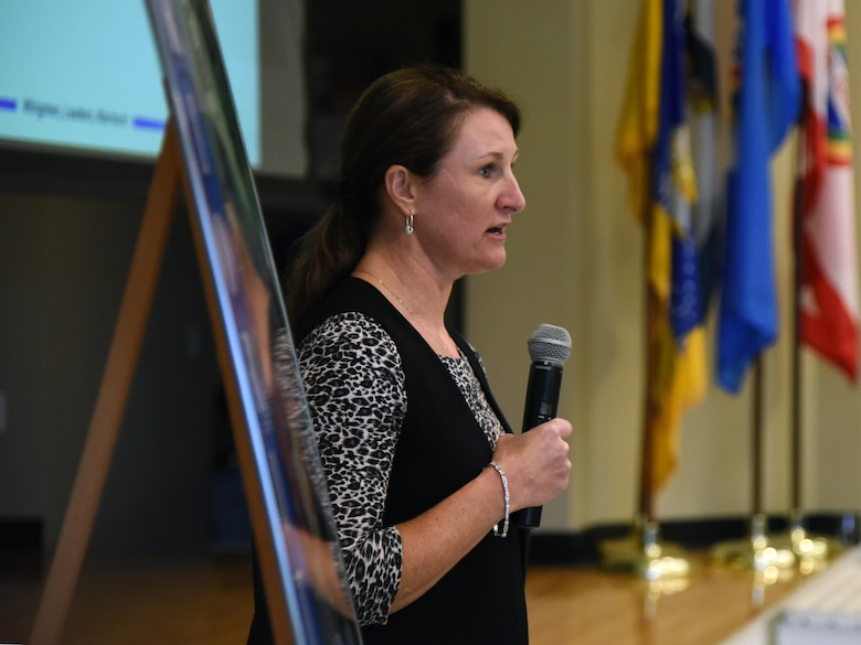 U.S. Air Force Col. Beatrice Dolihite, 81st Medical Group commander, delivers a briefing on the 81st MDG during the 81st Training Wing Fall 2018 Off-Site Commander's Conference at The Salvation Army Kroc Center in Biloxi, Mississippi, Nov. 6, 2018. Keesler leadership participated in the two-day event that allowed senior leaders to step away from their day-to-day activities and focus on improving themselves as leaders. (U.S. Air Force photo by Kemberly Groue)