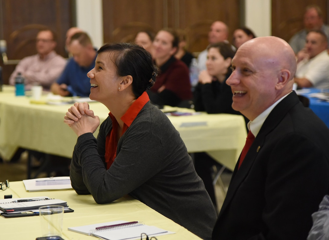 U.S. Air Force Col. Debra Lovette, 81st Training Wing commander, and Chief Master Sgt. David Pizzuto, 81st TRW command chief, attend the 81st TRW Fall 2018 Off-Site Commander's Conference at The Salvation Army Kroc Center in Biloxi, Mississippi, Nov. 6, 2018. Keesler leadership participated in the two-day event that allowed senior leaders to step away from their day-to-day activities and focus on improving themselves as leaders. (U.S. Air Force photo by Kemberly Groue)