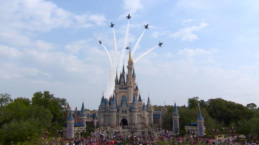 Blue Angels fly over Walt Disney World.