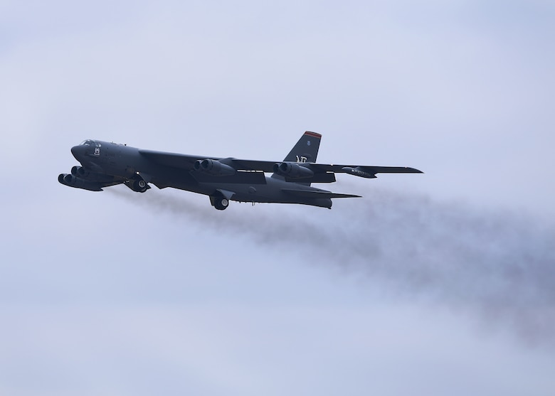 A B-52H Stratofortress takes off during Global Thunder 19 at Minot Air Force Base, N.D., Nov. 4, 2018. Global Thunder is a U.S. Strategic Command (USSTRATCOM) exercise designed to provide training opportunities to test and validate command, control and operational procedures. The training is based on a notional scenario developed to drive execution of USSTRATCOM and component forces' ability to support the geographic combatant commands, deter adversaries and, if necessary, employ forces as directed by the President of the United States. (U.S. Air Force Photo by Airman 1st Class Dillon J. Audit)
