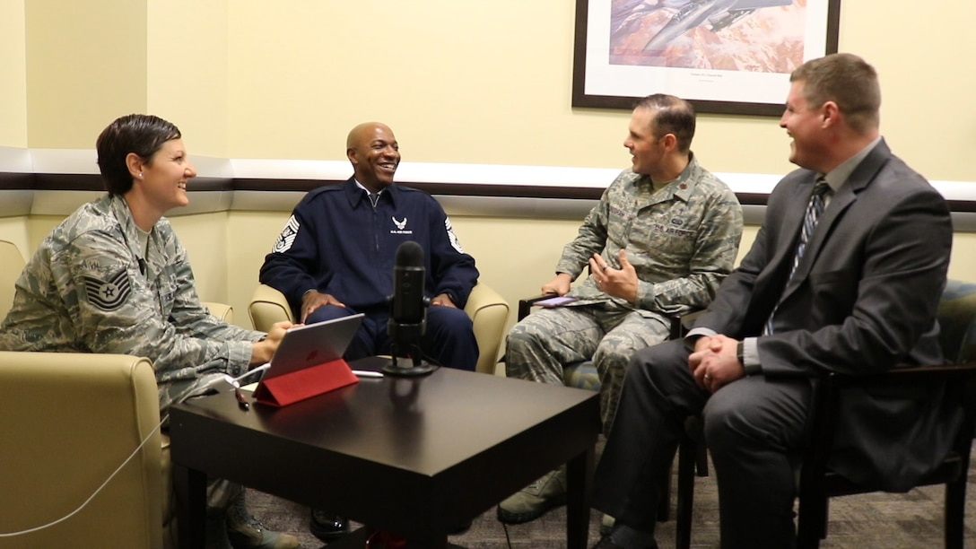 Tech. Sgt. Johanna Ackerberg, mental health technician, Chaplain (Maj.) Jim Bridgham, wing chaplain, and Jerry Walker III, Ph.D., Human Factors program manager, 363rd Intelligence, Surveillance and Reconnaissance Wing, Twenty-Fifth Air Force, interview Chief Master Sergeant of the Air Force Kaleth O. Wright, center, for The Pillars podcast.