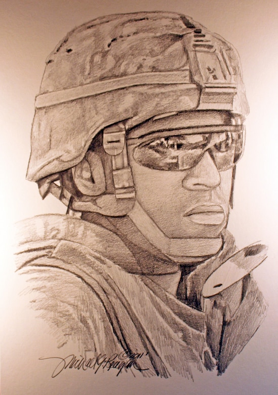 A drawing of Marine Corps Sgt. Jamal M. Rhett