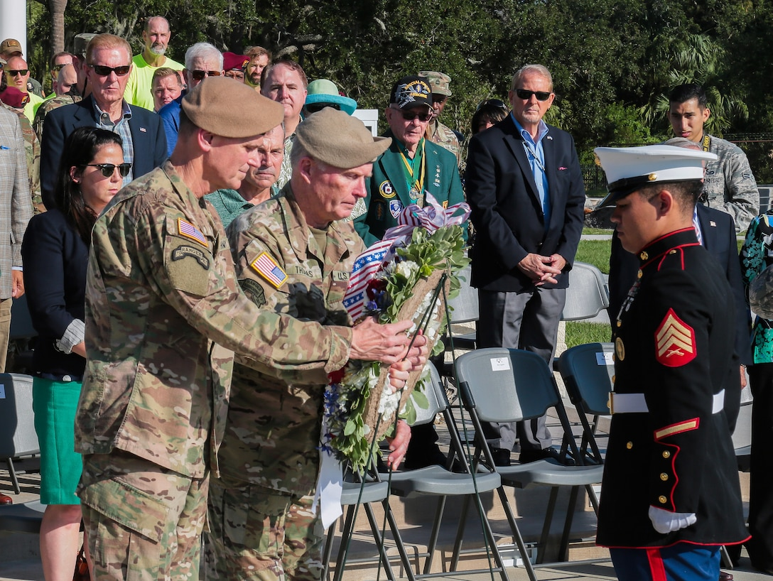 U.S. Army Gen. Joseph Votel, commander, U.S. Central Command, and U.S. Army Gen. Raymond A. Thomas III, commander, U.S. Special Operations Command lay a wreath in observance of Veterans Day during a ceremony, Nov. 8, 2018. Veterans Day celebrates the service of all U.S. military veterans. The holiday originated as Armistice Day and marked the end of hostilities of World War I that occurred at the 11th hour on the 11th day of the 11th month.