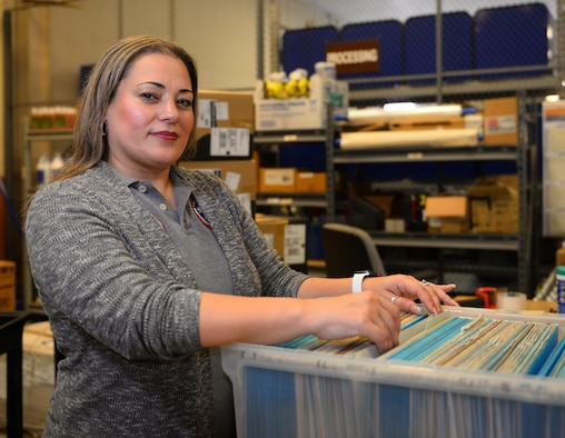 """Patty Soto, 47th Maintenance Directorate lead supply technician and approving official, was chosen by wing leadership to be the """"XLer"""" of the week, for the week of Oct. 29, 2018, at Laughlin Air Force Base, Texas. The """"XLer"""" award is given to those who consistently make outstanding contributions to their unit and the Laughlin mission. (U.S. Air Force photo by Senior Airman Benjamin N. Valmoja)"""