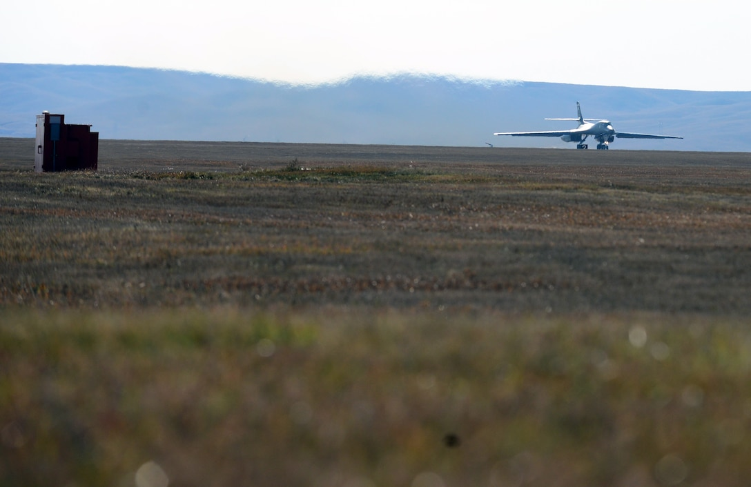 A B-1 assigned to the 37th Bomb Squadron takes off from Ellsworth Air Force Base, S.D., Oct. 24, 2018. Five B-1s and more than 100 Airmen from the 37th BS departed to participate in Green Flag, an air-to-surface training exercise in various parts of Nevada and California.