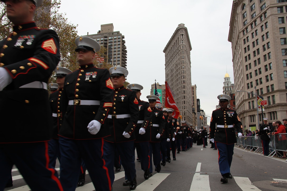 Marines march in formation in New York City.