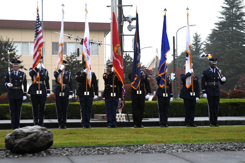 A Joint Service Color Guard opens the Veterans Day ceremony at Yokota Air Base, Japan, Nov. 9, 2018.