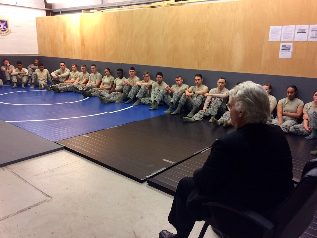 Dave Roever, Vietnam War veteran and Purple Heart recipient, visits with 100th Security Forces Squadron Airmen during a visit at RAF Mildenhall, England, Nov. 6, 2018. Roever has taken his message of integrated resiliency and suicide prevention to troops around the globe. (Courtesy photo/Lisa Velez)