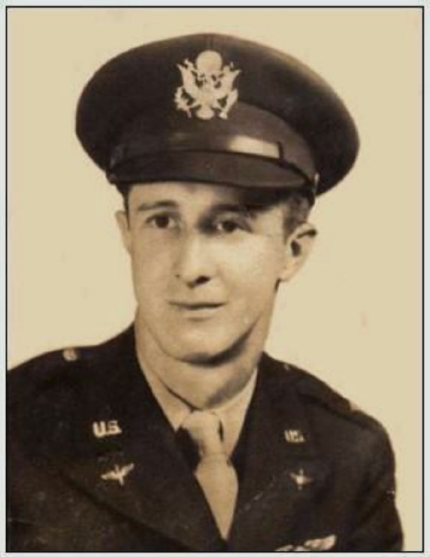 U.S. Army Air Corps 1st Lt. John D. Crouchley, poses for an official photo during World War II. Crouchley was assigned to the 828th Bombardment Squadron, 485th Bombardment Group, Foggia, Italy, and went into combat in May 1944. His aircraft was shot down over Bulgaria June 28, 1944, when he and his crew were returning from a bombing mission over Romania. He was missing in action for 73 years until his partial remains were discovered by a team from the Defense POW/MIA Accounting Agency in 2017 and positively identified in September 2018. (Courtesy photo)