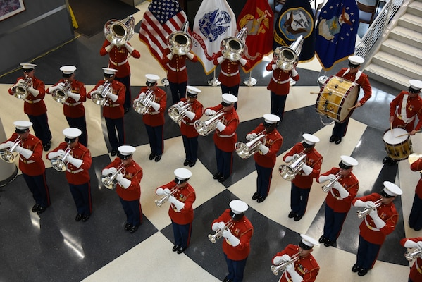 Marine band in red dress coats