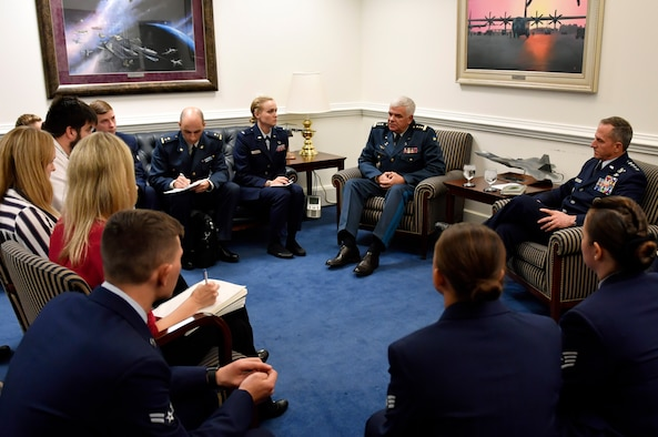 Air Force Chief of Staff Gen. David L. Goldfein and General-Colonel Sergii Drozdov, Commander of the Ukrainian air force, talk to members of the press during a press conference at the Pentagon, Arlington, Va.,  Nov. 8, 2018.  (U.S. Air Force photo by Wayne Clark)