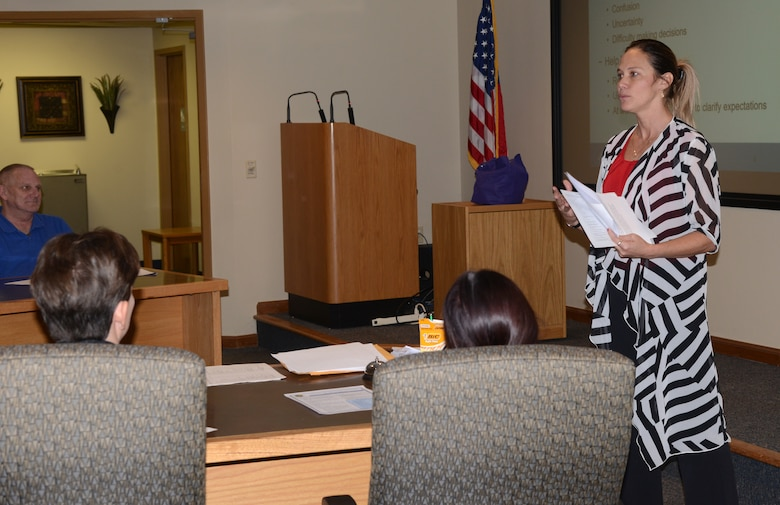 """Stephanie Lewis, Employee Assistance Program counselor, presented """"Contending with Change"""" during the 72nd Air Base Wing Civilian Mentoring Council event Oct. 26 at the Gen. James E. Hill Conference Center."""