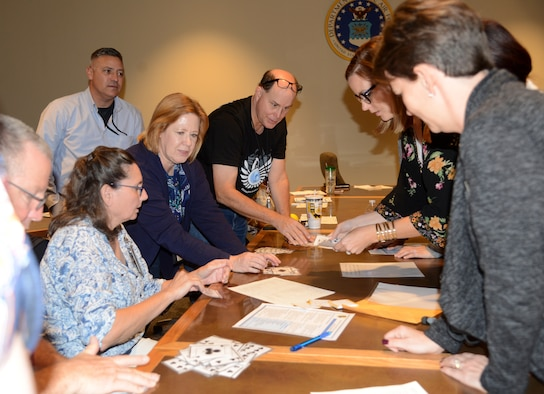 """During the 72nd Air Base Wing Civilian Mentoring Council event Oct. 26 at the Gen. James E. Hill Conference Center, members engaged in activities based on the day's presentation, """"Contending with Change."""""""