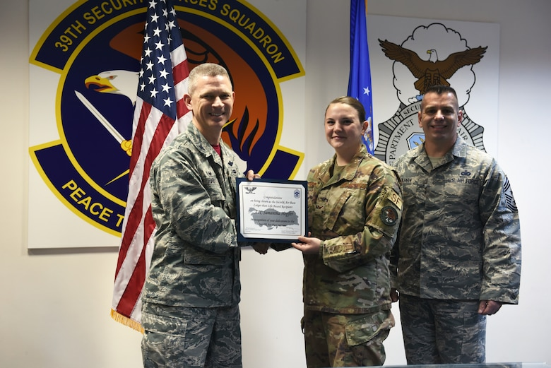 Congratulations to U.S. Air Force Airman 1st Class Samatha Hepfer, 39th Security Forces Squadron response force leader, for winning the deployed Larger Than Life Award at Incirlik Air Base, Turkey, Nov. 9, 2018.