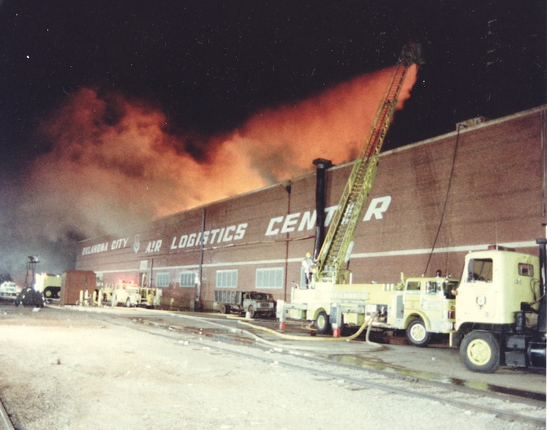The 1984 blaze was initially sparked by a contract welder's torch. It burned for nearly 50 hours before Tinker AFB firefighters and 23 other fire departments in the community extinguished.