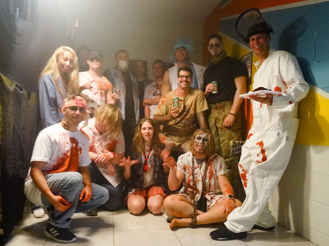 Haunted house performers pose for a group photo during a Halloween party held at the Sunspot Community Center, Learmonth, Australia, Oct. 31, 2018. Every year, members of 2nd Weather Squadron's Detachment 1 host a haunted house and offer trick-or-treating and games to the residents in the nearby town of Exmouth. (Courtesy Photo)