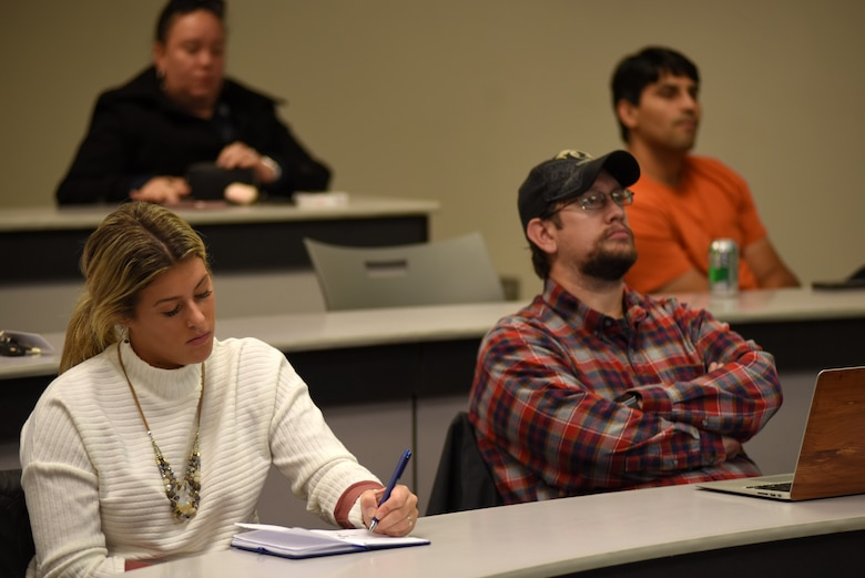 Middle Tennessee State University students listen and take notes as U.S. Army Corps of Engineers Nashville District Real Estate Division officials speak during the Guaranty Trust Real Estate Speaker Series Nov. 7, 2018 on campus at the Business and Aerospace Building. (USACE photo by Lee Roberts)