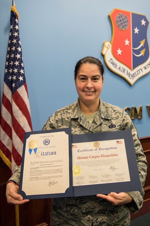 Master Sgt. Miriam Carpio-Hospedales, 514th Security Forces Squadron, was inducted to into the New York Veteran's Hall of Honor during a ceremony at the Lynbrook, N.Y., Knights of Columbus November 3, for her dedication and service to the country.