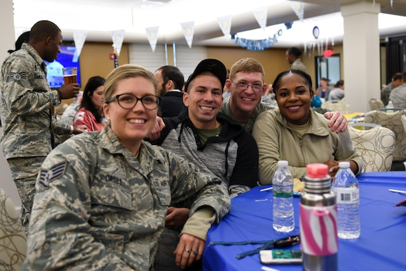 Airmen from the 911th Airlift Wing enjoy eachother's company at the Pittsburgh International Airport Air Reserve Station, Pa., October 3, 2018. This was part of an Oktoberfest event in an effort to boost morale and let Airmen relax after a very busy year and a half. (U.S. Air Force photo by Senior Airman Beth Kobily)