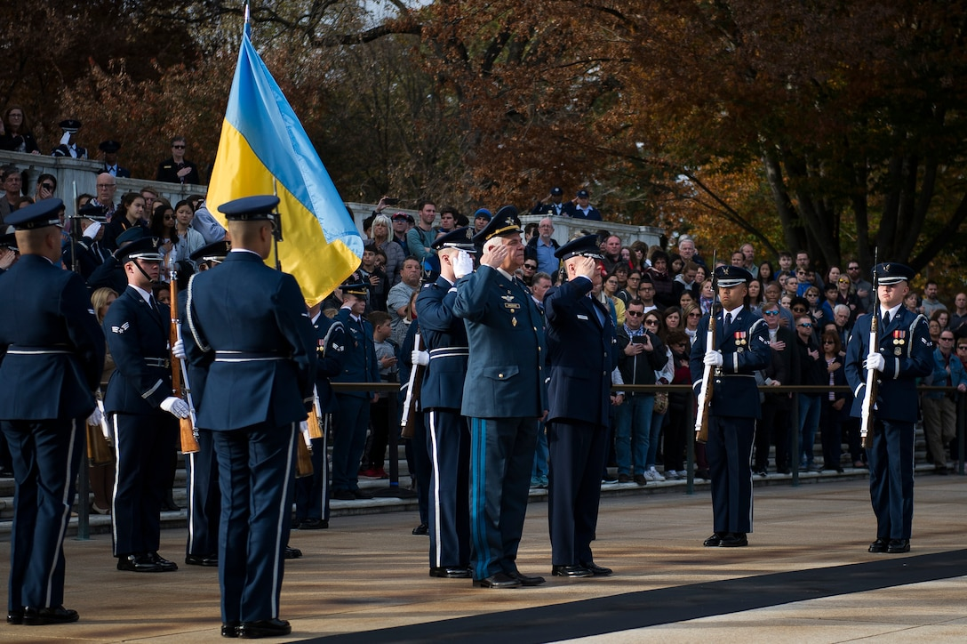 The Ukrainian Air Force commander and the Air Force District of Washington commander participate in a wreath-laying ceremony at Arlington National Cemetery, Arlington, Va.
