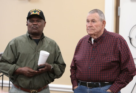 A Coast Guard veteran encouraged several of his military peers to take advantage of many programs offered by Veterans Administration during the monthly veterans breakfast at Marine Corps Logistics Base Albany, November 7. (U.S. Marine Corps photo by Re-Essa Buckels).