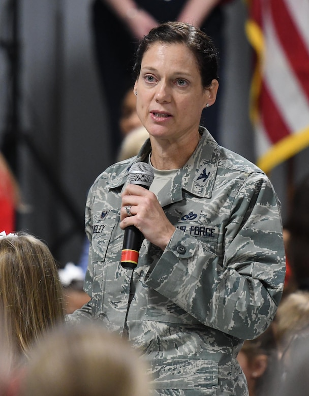 U.S. Air Force Col. Marcia Quigley, 81st Mission Support Group commander, delivers remarks during the Jeff Davis Elementary School Veterans Day celebration in Biloxi, Mississippi, Nov. 8, 2018. During the event, students recited the Pledge of Allegiance and sang several patriotic songs. Keesler Air Force Base leadership, honor guardsmen and base personnel attended the event. (U.S. Air Force photo by Kemberly Groue)