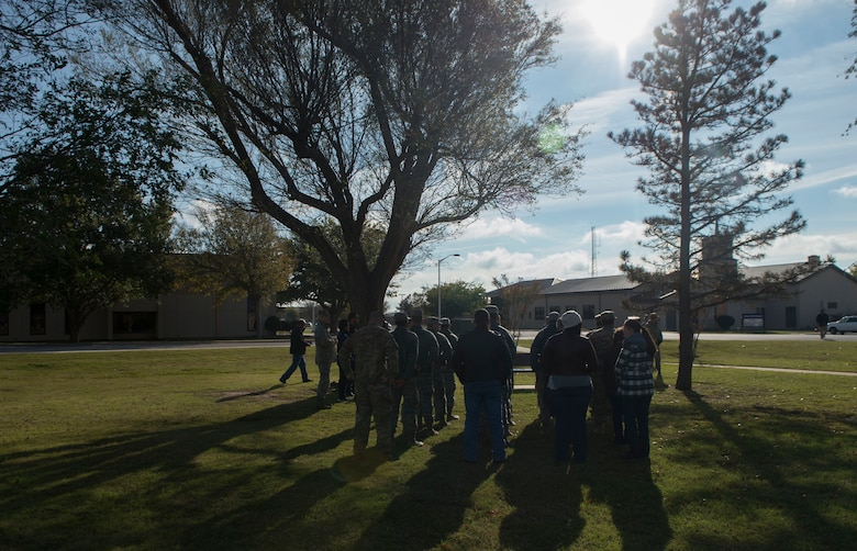The 97th Communications Squadron begins a ceremony in honor of Staff Sgt. Andrew Bubacz, Nov. 11, 2018, Altus Air Force Base, Okla. Bubacz passed away when he was deployed while serving during Operation Enduring Freedom, Nov. 12, 2010.