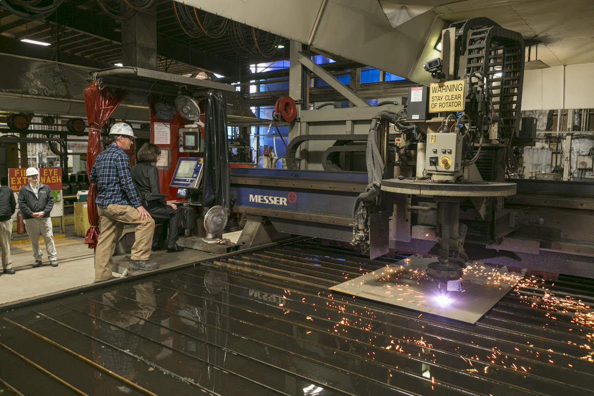 BATH, Maine (Nov. 9, 2018) U.S. Sen. Susan M. Collins makes the initial cut of steel for the future USS Patrick Gallagher (DDG 127) at Bath Iron Works. (U.S. Navy photo/Released)