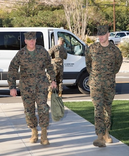 After being met in front of the Headquarters building, Lieutenant General Charles G. Chiarotti, Deputy Commandant/Installations and Logistics, Headquarters Marines Corps, is  escorted in by Colonel Craig C. Clemans, Commanding Officer, Marine Corps Logistics Base Barstow, for introduction of staff and officers.