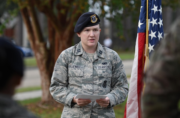 U.S. Air Force Capt. Samantha Giebel, 81st Security Forces Squadron operations officer, welcomes attendees to the 81st SFS Veterans Day Ruck March at Keesler Air Force Base, Mississippi, Nov. 9, 2018. The 6.8 mile ruck march was held in honor of all veterans and victims of war. (U.S. Air Force photo by Kemberly Groue)
