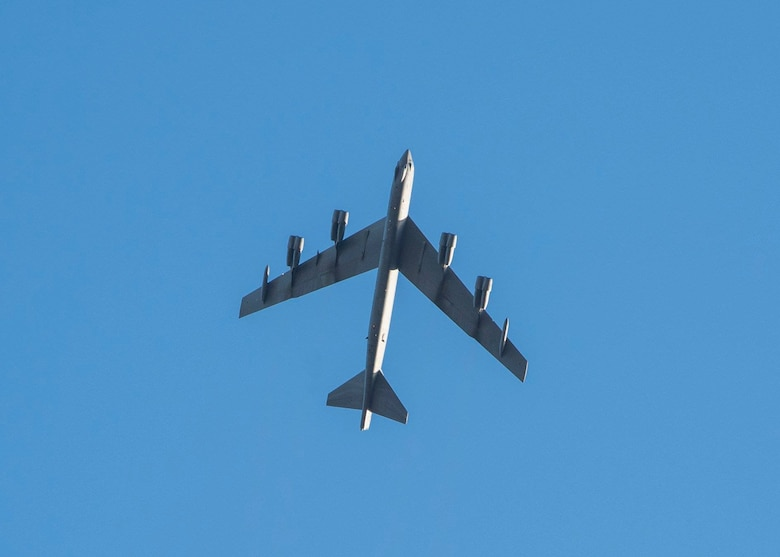 The 381st Training Group celebrated its 76th birthday with a B-52 flyover, Nov. 7, 2018 at Vandenberg Air Force Base, Calif. The 381st TRG is the gateway into the U.S. Air Force for Airmen entering the space, missile, or missile maintenance career fields.(U.S. Air Force photo by Senior Airman Clayton Wear/Released)