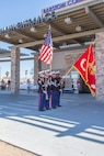 Color Guard, representing Marine Corps Logistics Base Barstow, presents the colors during the Veteran's Appreciation Day held by Barstow Community Hospital in Barstow, Calif., Nov. 7. (U.S. Marine Corps Photo by Jack J. Adamyk)