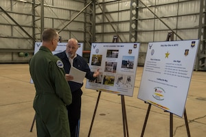 Bryan Doyle, a safety specialist for the 97th Maintenance Group, details all the safety practices the 97th MXG implements to U.S. Air Force Maj. Gen. Mark Weatherington, Air Education and Training Command deputy commander, Nov. 8, 2018, at Altus Air Force Base, Okla. Weatherington spent two days seeing the mission of the men and women of the Mighty 97th. (U.S. Air Force photo by Senior Airman Cody Dowell)