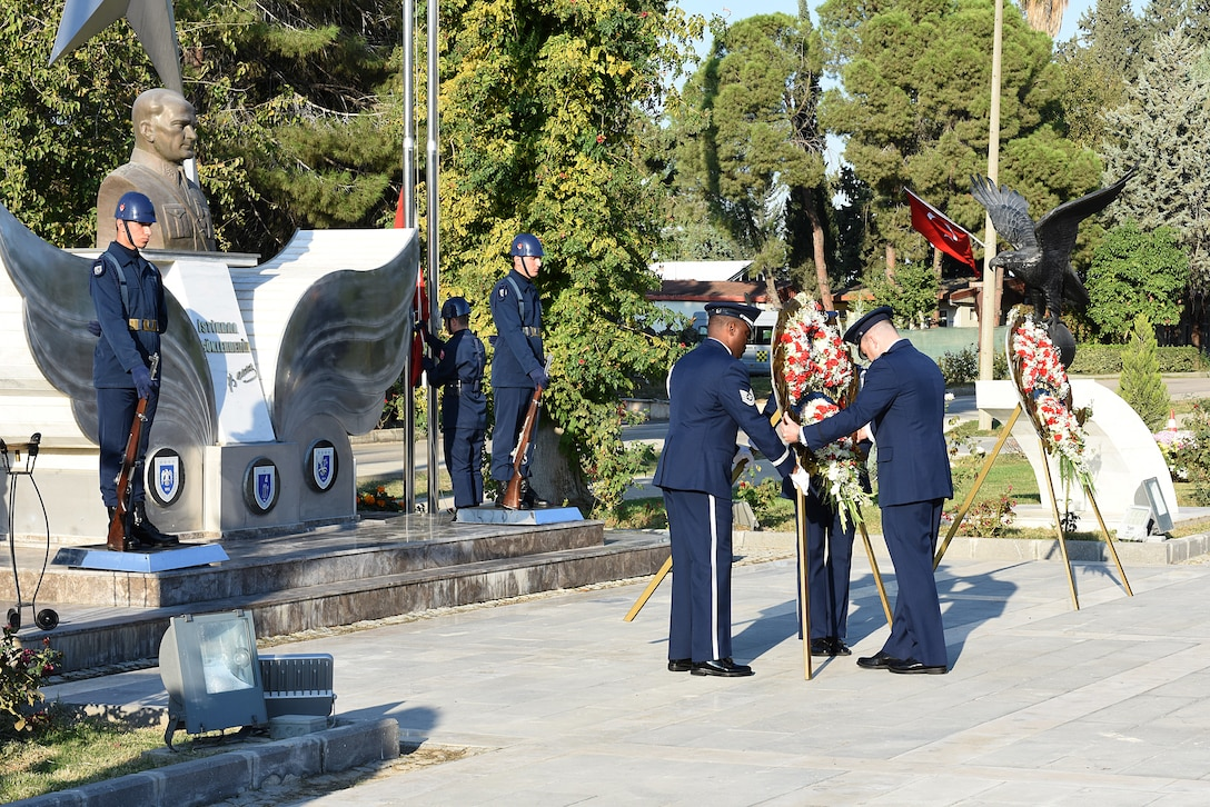 U.S. Air Force Col. Brian Filler, 39th Air Base Wing vice commander, and member of the Incirlik Air Base Honor Guard lay a wreath during a joint ceremony commemerating Mustafa Kemal Ataturk on Nov. 10, 2018, at Incirlik AB, Turkey.